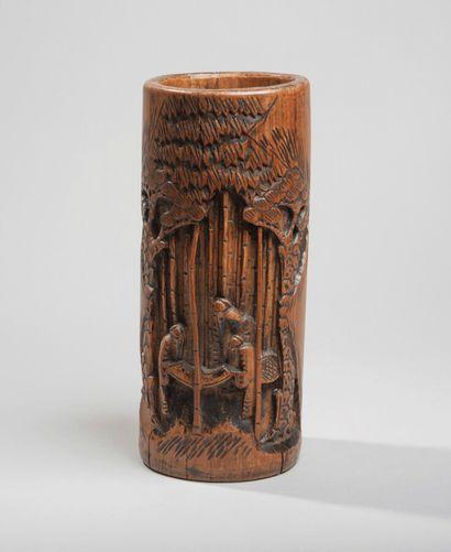 CHINE - XXe siècle - Pot à pinceaux en bambou...