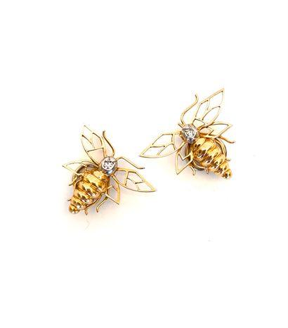 PAIRE d'ORNEMENTS DE COIFFURE « abeilles...