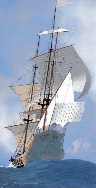 HAFFNER LÉON « La caravelle royale » Gouache au pochoir, signée en bas à gauche et...