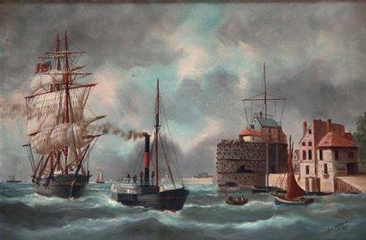 EDOUARD ADAM (1847-1929) Nommé peintre officiel de la Marine en 1885. L'entrée du...