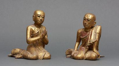 Paire de deux figurines birmanes en bois...