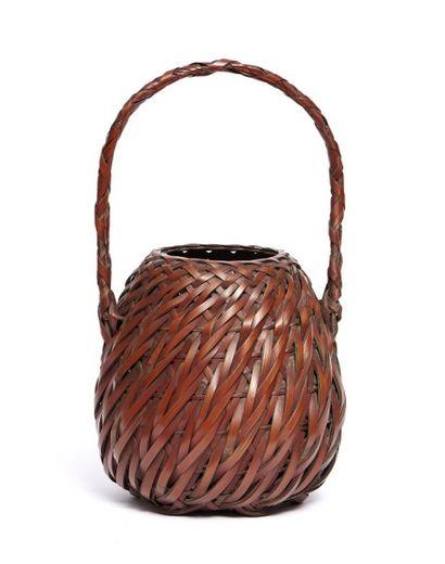 Panier à fleur en bambou tressé de forme...