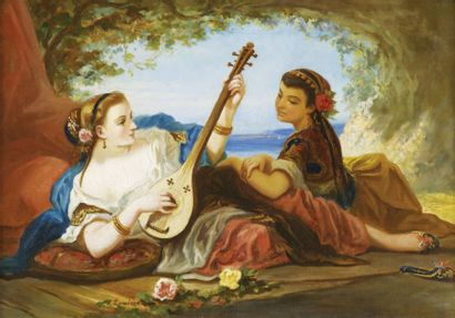 Deux femmes jouant de la musique Louis Devedeux (1820-1874) Signé en bas à gauche...
