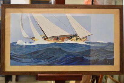 Léon HAFFNER (1881-1972) Peintre de marine, 1958 Pochoir, signé et daté en bas à...