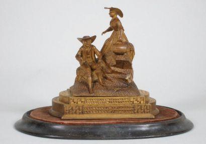 COUPLE DE VOYAGEURS. Fine sculpture en buis,...
