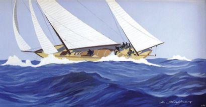 Léon HAFFNER (1881-1972) « Yacht avec équipage à la manoeuvre ». Gouache au pochoir,...