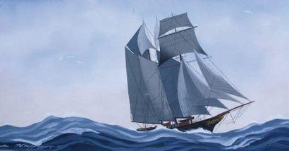 Léon HAFFNER (1881-1972) « Goëlette vu par tribord » Gouache au pochoir, signée en...