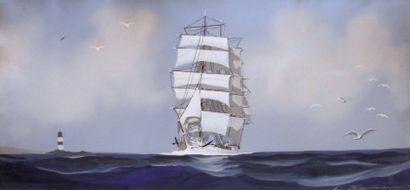 """HAFFNER LÉON (1881-1972) Peintre officiel de la Marine. """"Trois-mâts toutes voiles..."""
