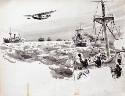 """ALBERT BRENET (1903-2005) """"Hydravion survolant un convoi maritime"""" Gouache sur papier..."""