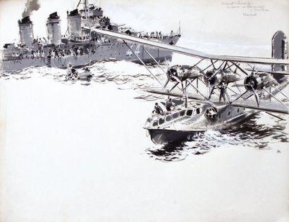 """ALBERT BRENET (1903-2005) """"Bréguet 521 Bizerte en panne va être remorqué par torpilleur""""...."""