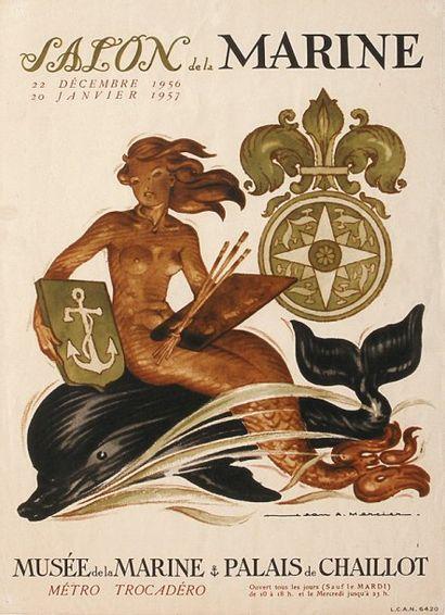 AFFICHE Du SAlON DE lA MARINE 1956 par Jean-Adrien...