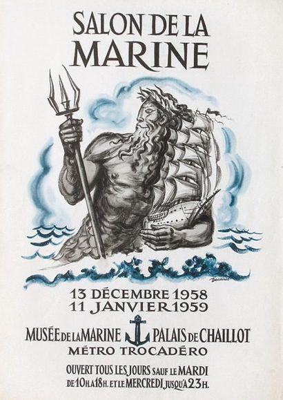 AFFICHE Du SAlON DE lA MARINE 1958 par Albert...