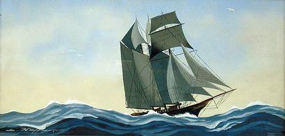 HAFFNER Léon (1881-1972) Trois-mâts par tribord avant Gouache au pochoir, signée...