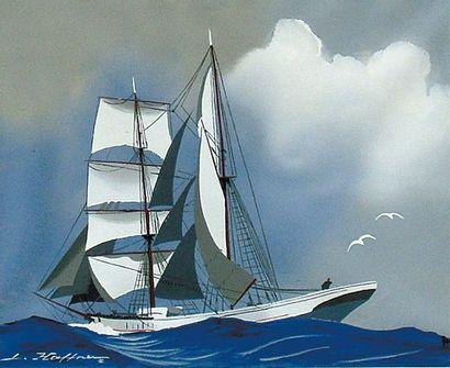 HAFFNER Léon (1881-1972) Yacht vu par bâbord Gouache au pochoir, signée en bas à...
