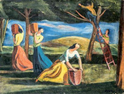 Félix VARLA (1903-1986) La récolte Huile sur toile, signée en bas à droite 46 x 61...