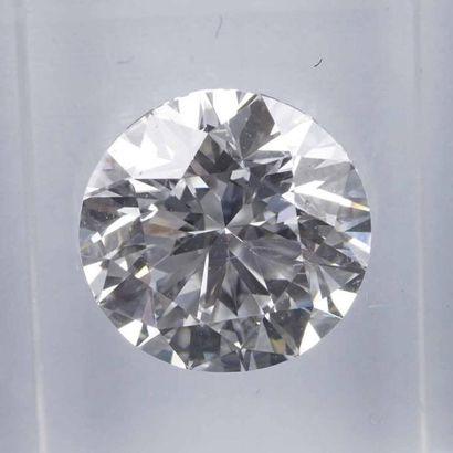 Diamant sur papier taille brillant pesant 2,03 carats, couleur : E, pureté : IF,...