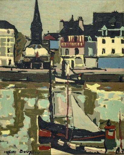 Jacques BOUYSSOU (1926-1997) PORT D'HONFLEUR Huile sur toile, signée en bas à gauche...