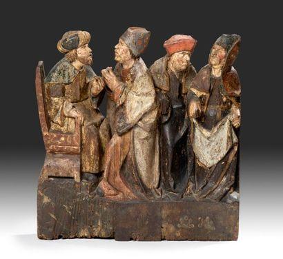 Groupe en chêne sculpté et polychrome Représentant...