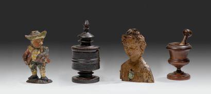 Lot composé d'un buste reliquaire en tilleul...