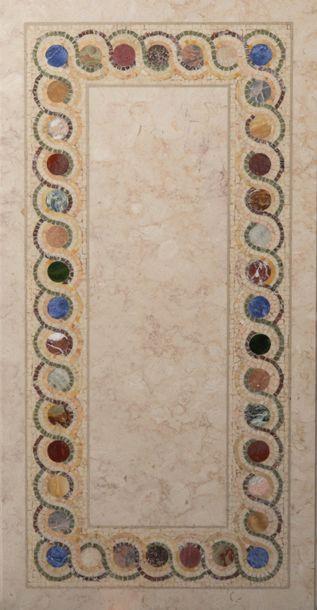 Plateau rectangulaire En marbre blanc et...