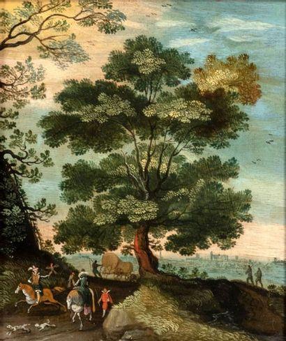 Attribué à Thobias VERHACHT (Anvers 1561-1631) Les chasseurs de faucons à cheval...