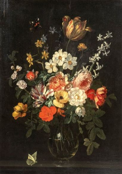 Attribué à Daniel SEGHERS (Anvers 1590 - 1661) Vase de fleurs et papillons sur un...