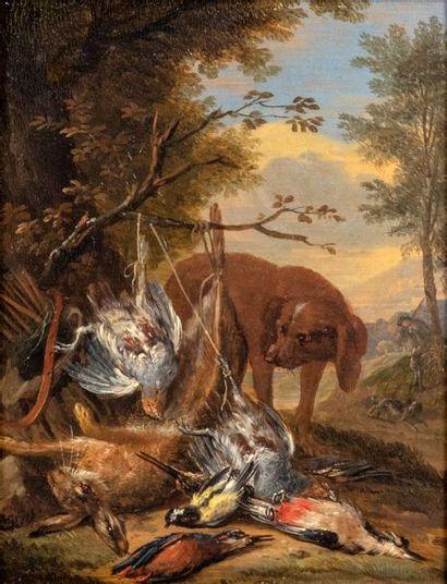 Adrian DE GRYEF (Leyde 1670 - Bruxelles 1715) Chien de chasse et le trophée de gibier...