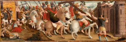 Ecole ITALIENNE de la fin du XVIème siècle Le convoi des martyrs ou l'Empereur Héraclius...