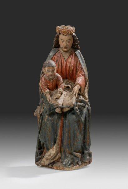 Groupe en chêne sculpté et polychromé Représentant...