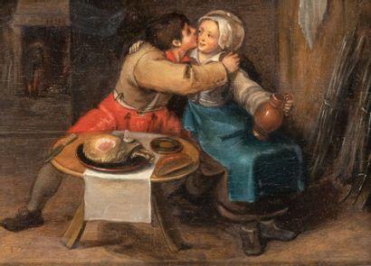 École FLAMANDE vers 1600, suiveur de Martin VAN CLEVE Le repas des amoureux Huile...