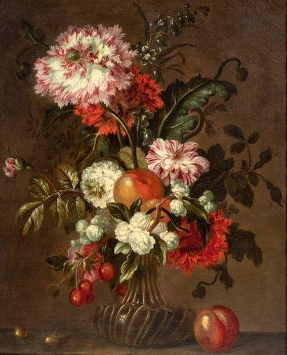 Jean-Baptiste Blin de Fontenay (1653 - 1715) Vase de fleurs et fruits sur un entablement...