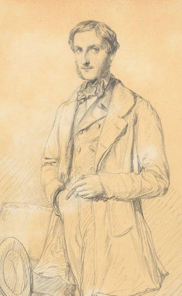 Théodore CHASSÉRIAU (1819-1856) Portrait de M. Georges Brölemann Crayon noir sur...