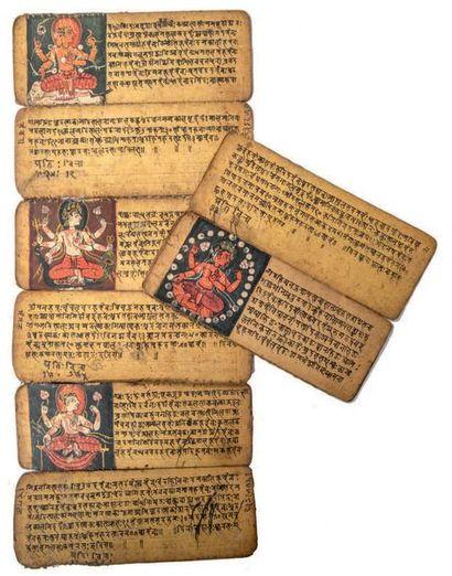Manuscrit Népalais Encre et pigments polychromes sur feuille de palme Népal, XVIIe...