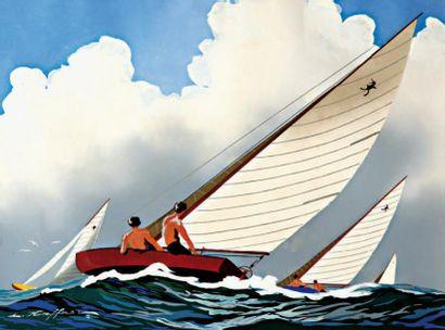 HAFFNER LÉON (1881-1972) « Régate de canetons » Nommé peintre officiel de la Marine...
