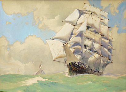 BRENET ALBERT (1903-2005) « Grand quatre-mâts croisant un yacht » Gouache signée...