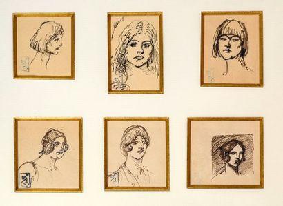 Théophile Alexandre STEINLEN (1859-1923) Six portraits Encres sur papier, cachet...
