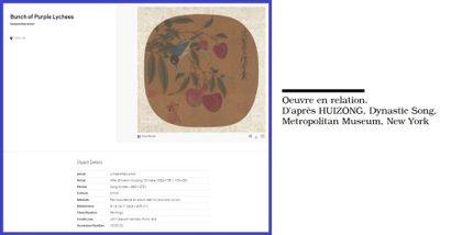 ECOLE CHINOISE, D'après HUIZONG ??? Les litchis Encre et couleurs sur éventail ovale...