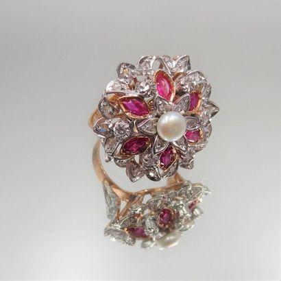 BAGUE «rosace» en or rose (375 millièmes)...