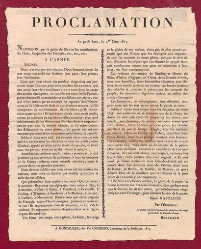 """Rare affiche: """"Proclamation de l'Empereur Napoléon faite au Golfe-Jouan le 1er mars..."""