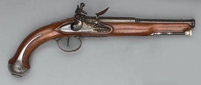 Pistolet à silex de cavalerie, canon bleui...