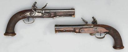 Paire de pistolets à silex d'officier supérieur...