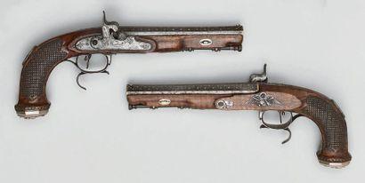 Belle paire de pistolets d'officier général,...