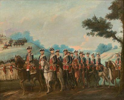 Huile sur toile: Régiment de cavalerie, probablement...