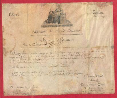 Brevet d'honneur sur parchemin en partie...