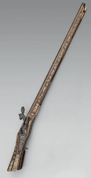 Belle arquebuse de chasse à rouet, fort canon...