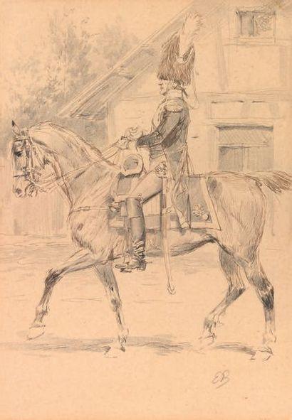 Édouard Detaille (1848/1912) Deux dessins au crayon et à la plume, rehauts de gouache...