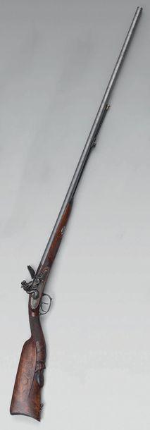 Fusil de chasse à silex, double canon en...