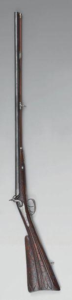 Fusil de chasse à percussion, double canon...