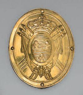 Plaque de giberne d'officier ovale en laiton...
