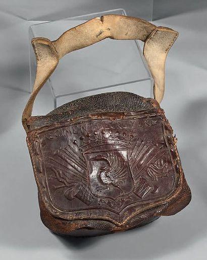 Rare giberne du régiment de Gruyère en cuir...